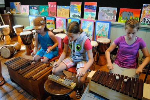 students improvising on Orff instruments